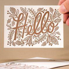 smileysideup:  What's on press… Hello @riflepaperco - #letterpresscard w/ metallic ink by mamassauce http://ift.tt/1EUzz4i