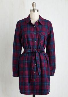 Guest House Getaway Dress - Red, Blue, Plaid, Print, Pockets, Casual, Shift, Shirt Dress, Long Sleeve, Fall, Woven, Good, Mid-length
