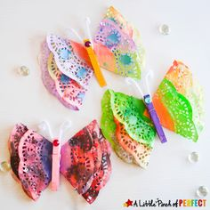 Beautiful Painted Butterfly Doily Craft for Kids | A Little Pinch of Perfect