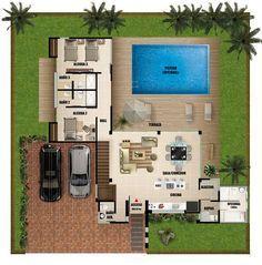 Plano de casa moderna de dos pisos con piscina #modelosdecasasdedospisos