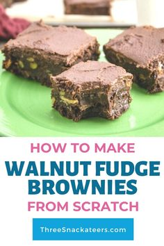 Learn how to make the best fudgy walnut brownies from scratch. This easy homemade recipe uses cocoa powder, chocolate chips and butter (not oil) for chewy, gooey brownies that are way better than from a box mix. These brownies are topped with a simple and tasty chocolate buttercream frosting. Easy Homemade Recipes, Easy Baking Recipes, Dairy Free Recipes, Sweet Recipes, Brownie Frosting, Chocolate Buttercream Frosting, Brownie Recipes, Cookie Recipes, Dessert Recipes