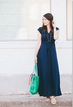 Great navy dress that I could change up with different necklaces and shoes.
