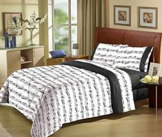 music notes bed sheets