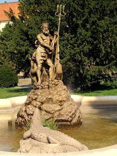 Neptune's fountain on the Hlavná ulica (Main Street) in Prešov