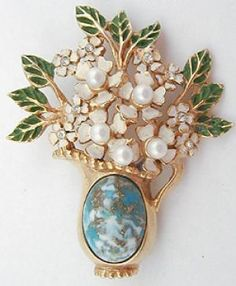 Kramer Vase of Flowers Brooch - Garden Party Collection Vintage Jewelry