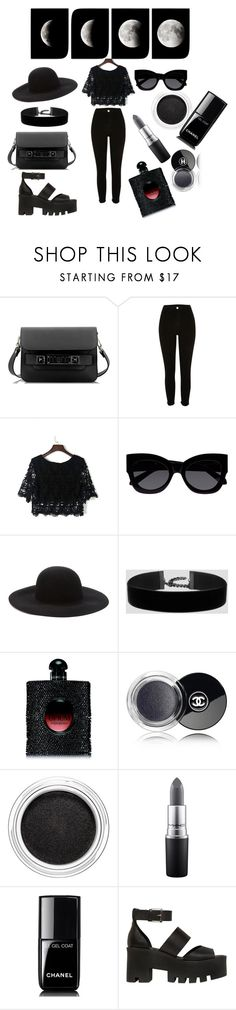 """""""allblack"""" by dominika-latus on Polyvore featuring Proenza Schouler, River Island, WithChic, Karen Walker, Forever 21, Yves Saint Laurent, Chanel, Clarins, MAC Cosmetics and Windsor Smith"""