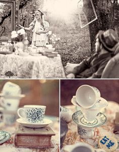 Would you like some tea ☕ Alice in Wonderland. Hang picture frames everywhere.... maybe some clocks tooo!