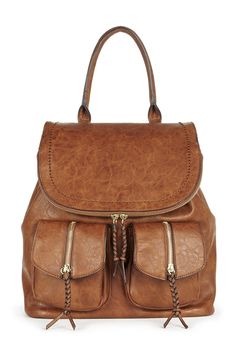 Brown backpack with front pockets and braided zipper pulls
