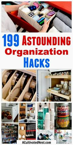 ome Organization Hacks- Getting your home organized can be tricky, but not if you know these amazing organization hacks! No matter what area of your home needs to be organized, these home organization hacks are sure to help! | small space organizing, bedroom organization, garage organization, kitchen organization, bathroom organization, laundry room, apartment organization, pantry, #organizing #organize #organization #homeOrganization #organizeYourHome via @ACultivatedNest #HomeOr…