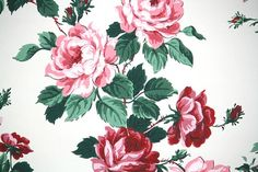 1940's Vintage Wallpaper  Large Pink Cabbage by HannahsTreasures, $18.00