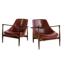 Pair of Rosewood Ib Kofod-Larsen Elizabeth Chairs | From a unique collection of antique and modern lounge chairs at https://www.1stdibs.com/furniture/seating/lounge-chairs/