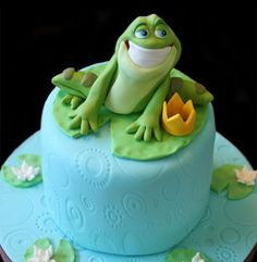Frog cake. . . love that cheesy smile!