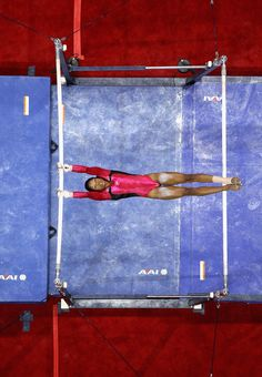 Love this view!  -Gabrielle Douglas competes on the uneven bars during day 2 of the 2012 U.S. Olympic Gymnastics Team Trials at HP Pavilion on June 29, 2012 in San Jose, California.