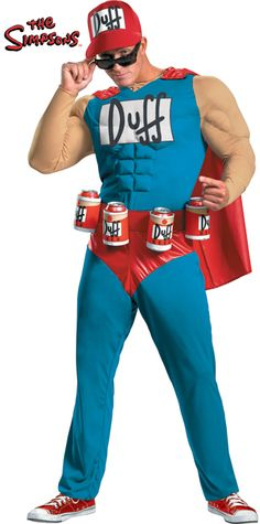 Duffman Classic Muscle Costume Includes: Jumpsuit w/Muscle Torso & Arms, Detachable Cape, Belt w/Attached Beverage Holders & Hat