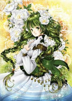 Princess with long green hair in braids, green eyes, white dress, & ivory flowers by manga artist Shiitake. Art Manga, Art Anime, Manga Artist, Chica Anime Manga, Manga Girl, Royal Art, Coloring Book Art, Beautiful Fantasy Art, Anime Princess