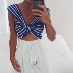Wrap-like top + stripes + white high-waisted pants