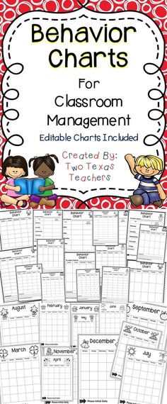 Behavior Charts  This is a set of editable behavior charts for the classroom. #education