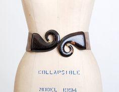 Vintage 70s 80s Brown Leather & Snakeskin Belt