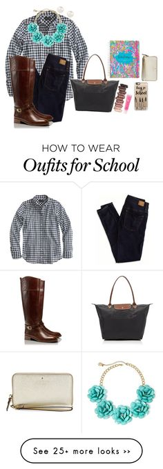 """At school rn"" by sunglamourandpreppiness on Polyvore featuring J.Crew, Urban Decay, Lancôme, Mixit, Longchamp, Kate Spade, American Eagle Outfitters, Casetify, Accessorize and Tory Burch"