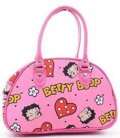 Pink Lips Betty Boop All Over Bowling Purse Handbag
