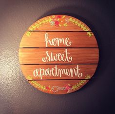 Home Sweet Apartment Floral Wooden Wall Apartment Decoration Hanging Sign