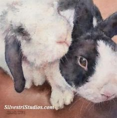 """""""Bunny Buddies"""", watercolor bunny rabbit painting by animal artist Teresa Silvestri.  Original sold, but prints & cards available.  Photo reference thanks to Rabbit Rescues Rock."""