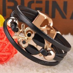 Cute Owl Cuff Bracelet Hand Braided Chain Vintage Gold Plated Multilayer Bangle FYMHM093