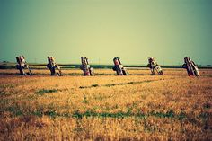 """Cadillac Ranch - Amarillo, TX.  """"Open up your engines let 'em roar  Tearing up the highway like a big old dinosaur..."""""""