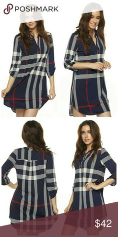 Coming Soon Navy Plaid Tunic Split Neck hi-low Tunic  92% Polyester 8% Spandex Tops Tunics