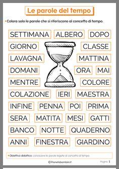 Italian Lessons, Italian Language, Learning Italian, Primary School, Pixel Art, Vocabulary, Worksheets, Homeschool, Teaching