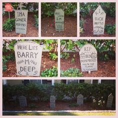 DIY gravestones for Halloween out of plywood and acrylic paint. Halloween Outside, Outdoor Halloween, Halloween 2017, Halloween Stuff, Halloween Crafts, Halloween Ideas, Halloween Party, Halloween Tombstone Sayings, Halloween Tombstones