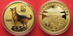 2006 Nordkorea NORTH KOREA 20 Won 2006 Lunar YEAR OF THE DOG brass COLORED Proof # 94937 Proof