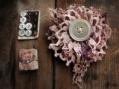 dusted moon - ragged doily brooch - vintage hand dyed crochet - antique button. $29.00, via Etsy.