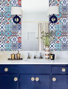 Kitchen & Bathroom Turkish Iznik Vinyl 48 Tile by QUADROSTYLE