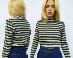 7772b060f Vintage 80s Fiorlini Black White Purple Green Stretchy Ribbed Turtleneck  Shirt, Ribbed Turtleneck, Pullover