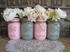 Pint Mason Jars, Ball jars, Painted Mason Jars, Flower Vases, Rustic Wedding Centerpieces, Pink and Grey Mason Jars