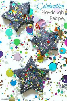 Celebration Playdough Recipe: A fun sensory play material to help kids celebrate special days- New Year's, a birthday, or any other special event! Projects For Kids, Crafts For Kids, Craft Projects, Diy Crafts, Kids Diy, Decor Crafts, Craft Ideas, New Year's Eve Crafts, Holiday Crafts