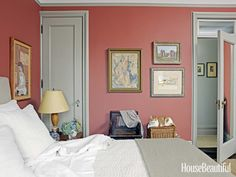 Master bedroom in Farrow & Ball's Picture Gallery Red. Design: Alexander Doherty. housebeautiful.com. #bedroom #red