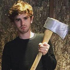 Freddie + axe = Freddie Bates!  (He looks so good with the beard!)