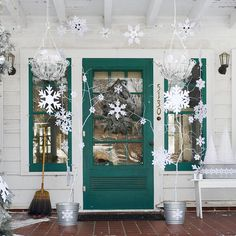 Christmas: Charming Christmas Front Porch Decorating Ideas Bringing The Holiday Feelings, White and Tosca Front Porch Decorations Idea for Christmas with Homemade Hang Snowflakes and Wreath and White Pianted Dry Twigs also Wall Sconces