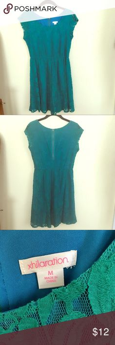"🔥FINAL SUMMER PROMO🔥 Teal Lace Dress Cap Sleeves SUCH a fun dress. I adore the color- teal, Turquoise, whatever you call it. V. comfortable, can be dressed up/down. Cap sleeves = darling! Unfort I'm now too old too wear a v. short dress. At 5,9"" and 37, almost everything looks too short. Plus it needs to be worn and have fun outside my dark tiny closet! Someone rescue her! 🔥 3/$10 🔥 Xhilaration Dresses Mini"
