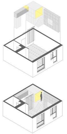 Plano 3D estantería departamento