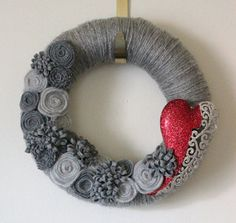 Valentine Heart Wreath. I don't think I like that heart but I do like the gray on gray thing.