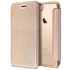 """Gold Leather Case for iPhone 7, Clear Back Chrome Leather Flip Case Cover Wallet for iPhone 7 [4.7""""][Gold]"""