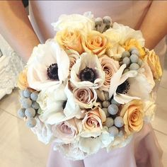 """""""A combination of some of my #favorite #flowers for the matron of honor #bouquet #french #anemones #roses #Brunia #gardenroses #blush  Photo credit…"""""""