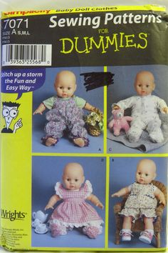 """Simplicity 7071 Baby Doll Clothes 12""""-22"""""""
