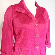"""HPMake Offer - Crinkled 3/4 Sleeve Jacket -NWT Perfect for Spring! This jacket would look amazing as a suit jacket or just for fun with a pair of jeans. This is simply irresistible!!! Measurements are 19.5"""" sleeves, 22"""" across bust line from armpit to armpit, 20.5"""" across waist and 24.5"""" in length from shoulder to bottom hem. Buttons are pink with gold detail. Gold detail on functioning pockets. Laura Ashley Jackets & Coats"""