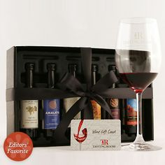 For the wine enthusiast! Over 20 samplers of six 50-millileter bottles (arranged by specific vineyards, varietals, regions, and more) of heart-healthy wine.