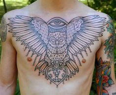 Owl with Eye on Chest by Aivaras Lee