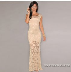 Sexy Hot Women Lace Sheer Floral Crochet Bodycon Slim Fitted Formal Evening Party Long Maxi Dress Longo Vestidos De Fiesta 1928 | OK Fashion